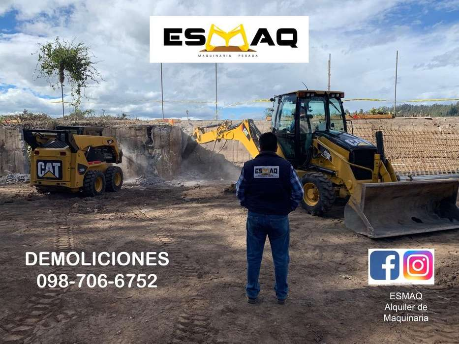 Alquiler de Maquinaria para Demoliciones, Martillo Hidraulico, Derrocamiento de casas,