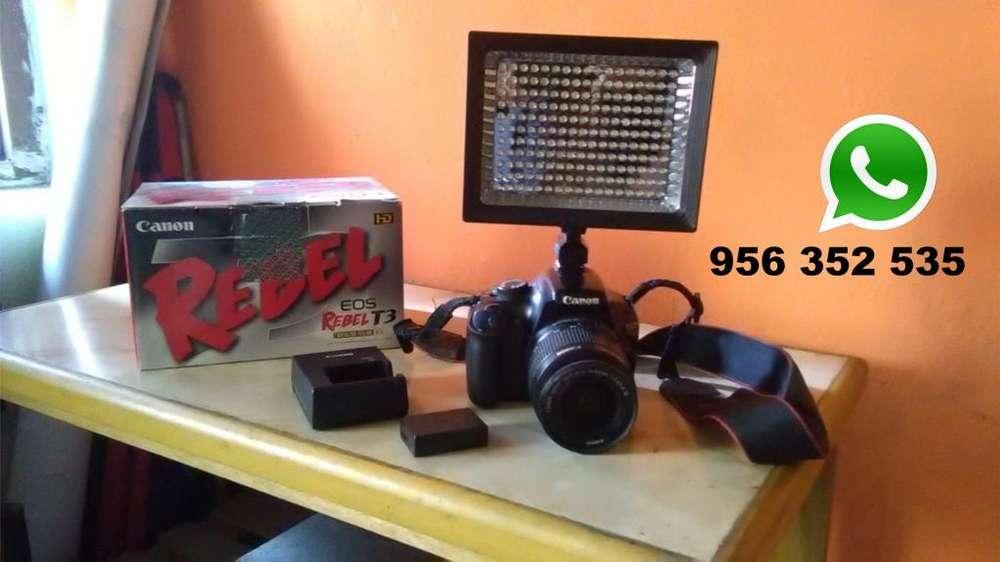 CAMARA CANON EOS REBEL T3 CON REFLECTOR LED fono 956 352 535 (whassap) ... s/ 900 soles/