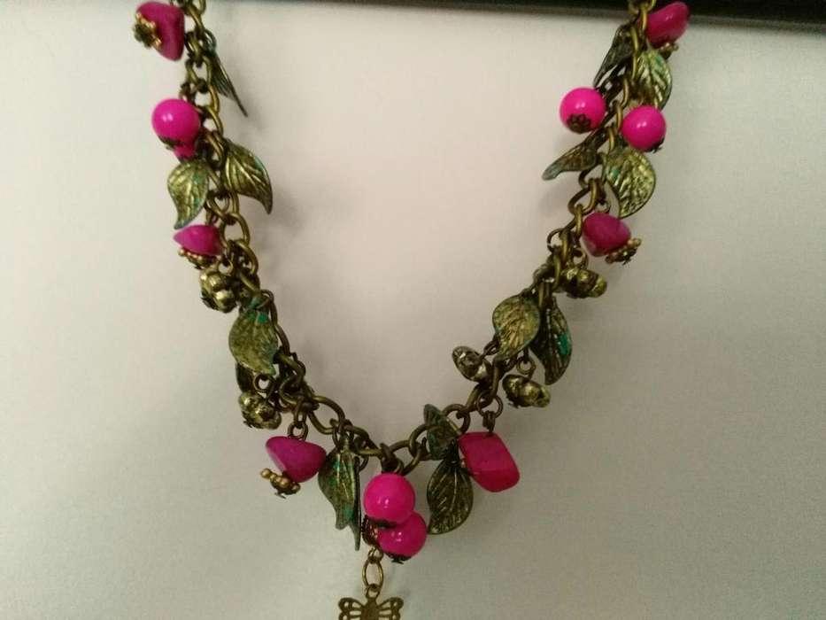 collares varios de bronce folk con piedras dijes NUEVOS!!