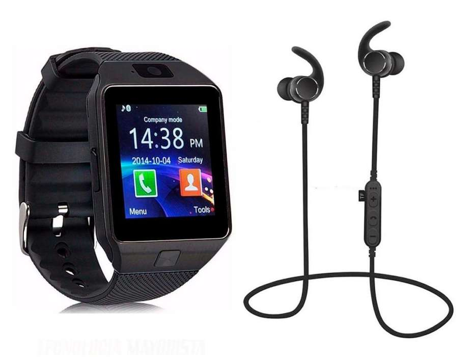 COMBO SMARTWATCH DZ-09 Y AUDIFONOS <strong>bluetooth</strong>