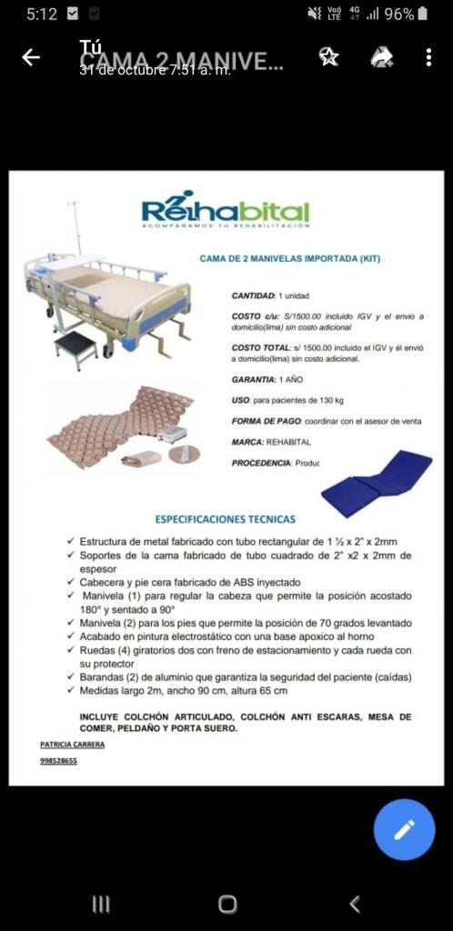 Cama Clinica Importada Marca Rehabital