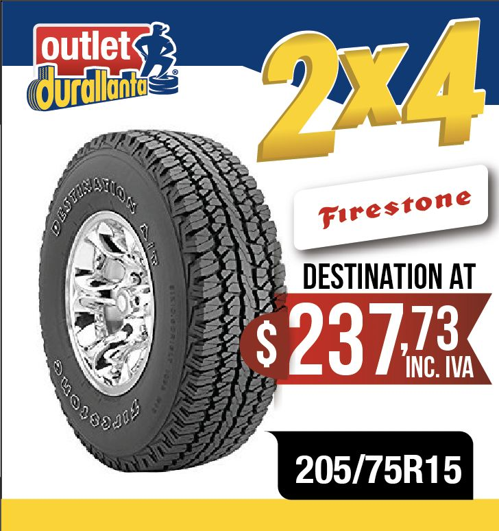 LLANTAS 205/75R15 FIRESTONE DESTINATION AT LUV DMAX VITARA GRAND VITARA SPORT LUV DMAX DIESEL