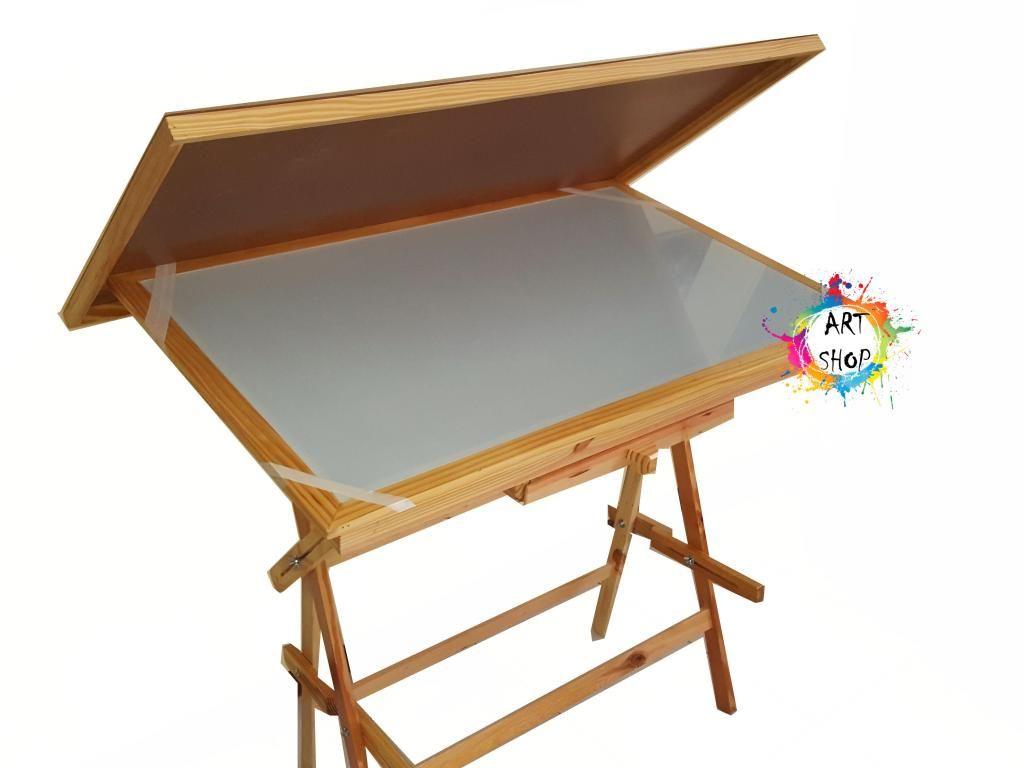 Mesa De Dibujo 120x80 Luces Led Cajón Y Tapa Protectora