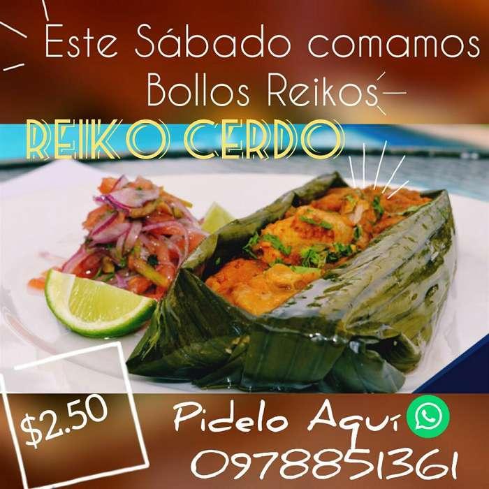 Bollos de Cerdo, Pescado, Camaron.