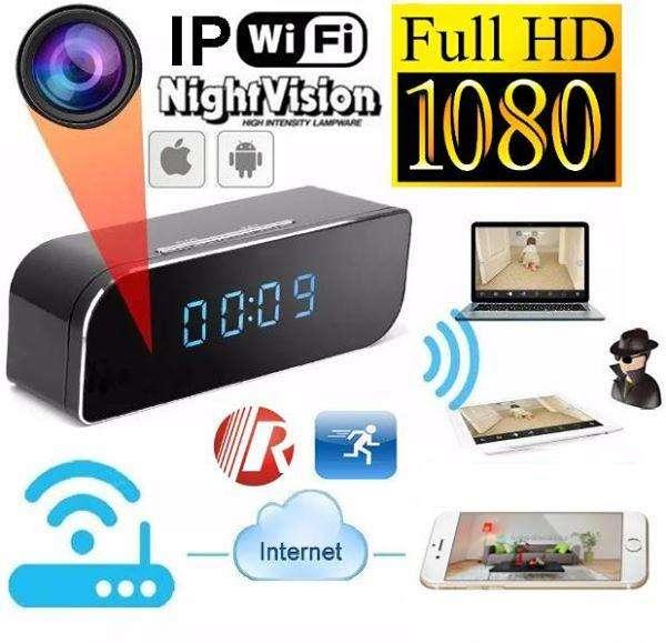 Camara Espia reloj Oculta Escondida Despertador de Mesa FULLHD WIFI IP