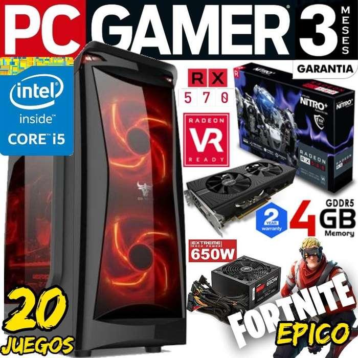Pc Intel Core I5 Rx 570 19.999 Contado Fortnite Epico 20 Juegos