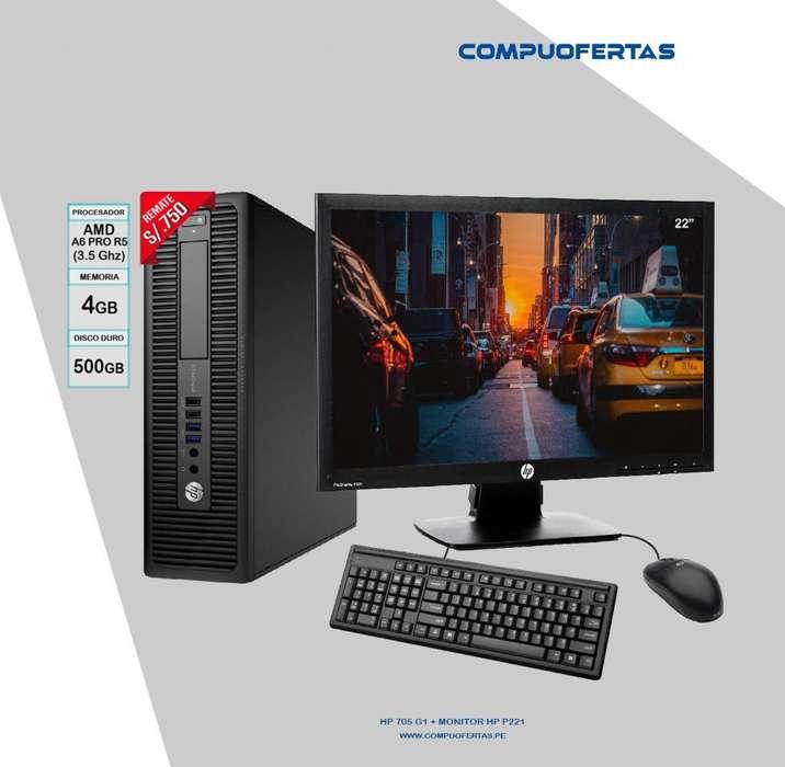 Computadora HP 705 G1 A6 PRO 3.5GHZ Con LED 22