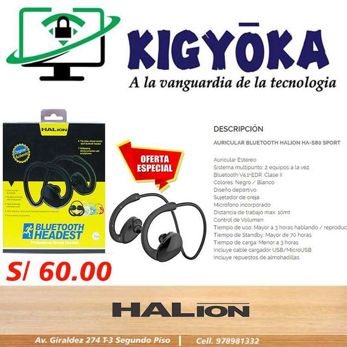 BLUETOOH HEADEST SPORT / HALION HA-S80