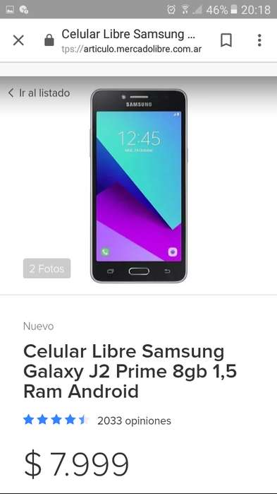 Samsung J2 grand prime celular