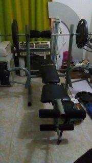 Banco de pesas de pecho, kit de pesas con barra y mancuernas
