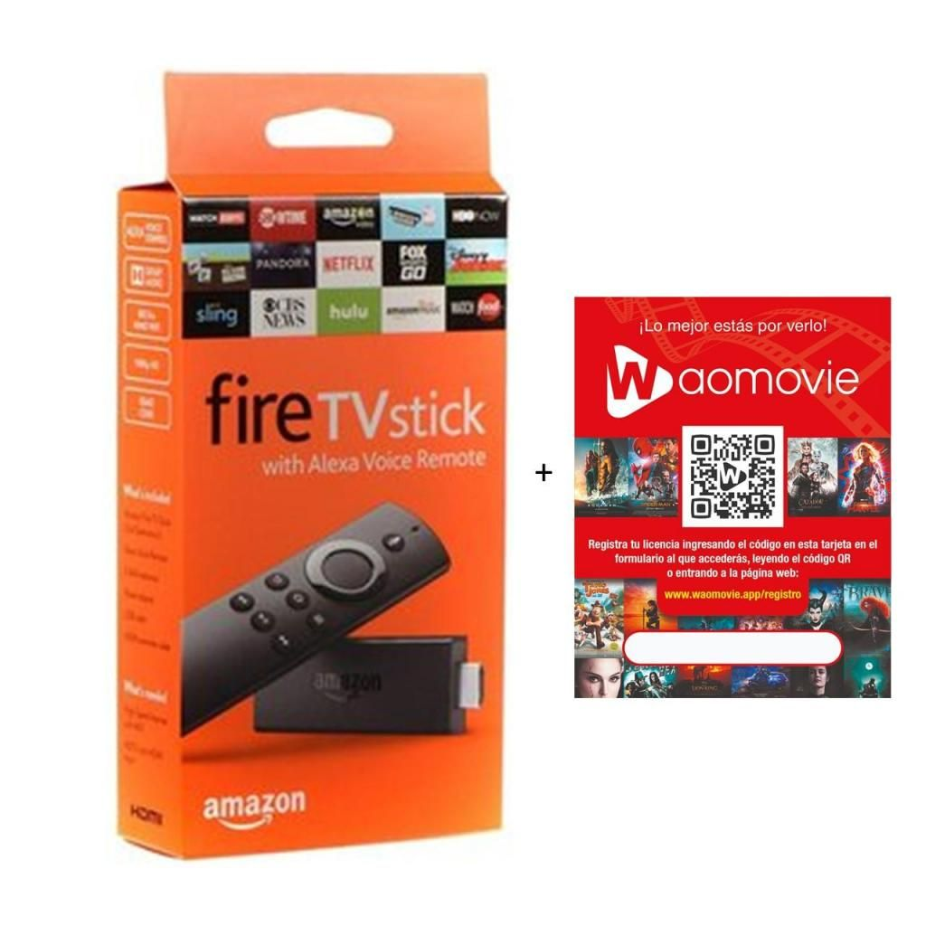 combo Amazon Fire Tv Stick Fullhd Convertidor Smart Tv  Wao Movie suscripcion