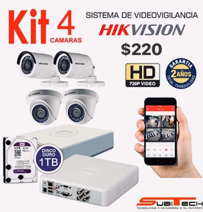 Kit Completo De 4 Cámaras De Seguridad Hikvision