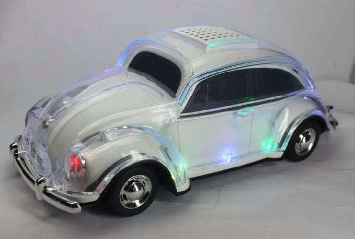 parlante bluetooth radio auto escarabajo usb bateria cargador navidad niños