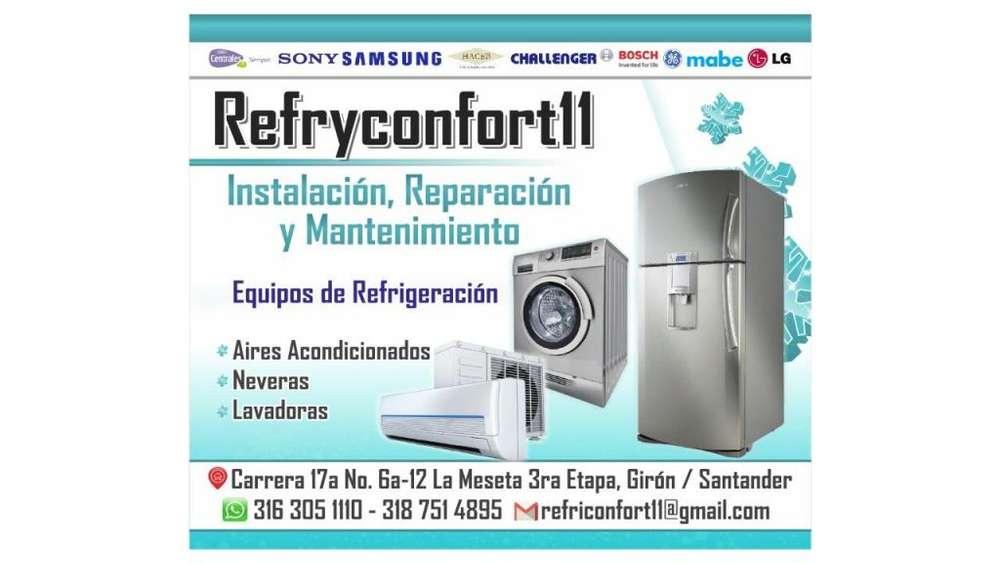 Instalación, Reparación y Mantenimiento Refrigeración, Aires Acondicionados, Neveras, Lavadoras.
