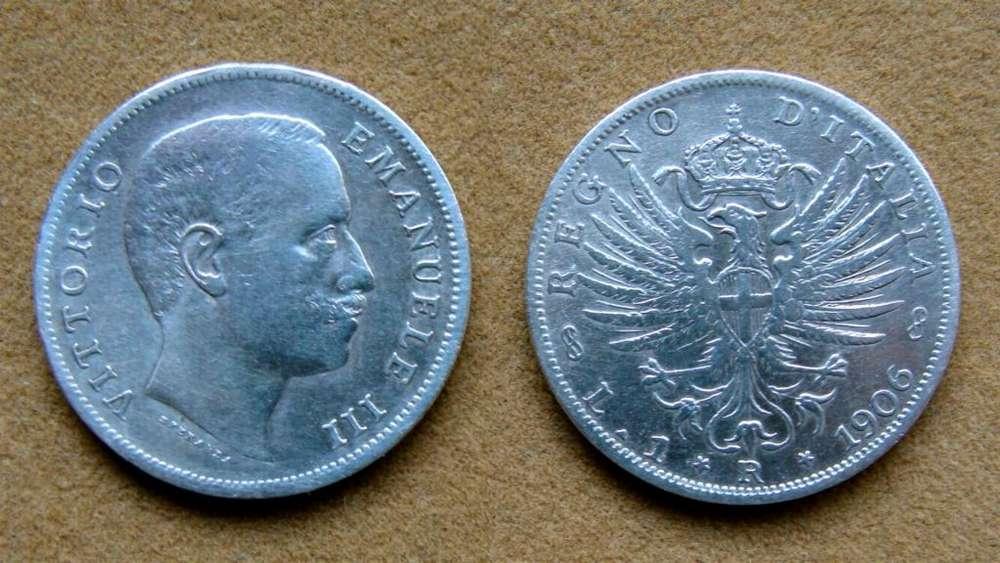 Moneda de 1 lira de plata, Italia 1906
