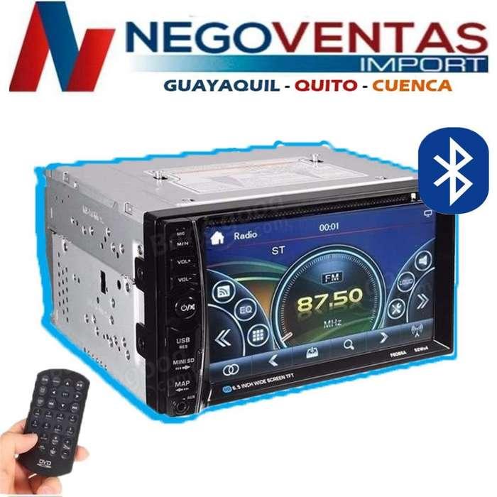 RADIO PARA CARRO DOBLE DIN 6.5 P USB SD AUX CD DVD BT FM PANTALLA TACTIL