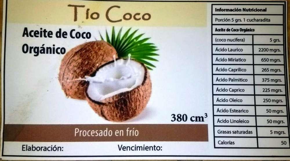 Aceite orgánico de coco - Tío Coco