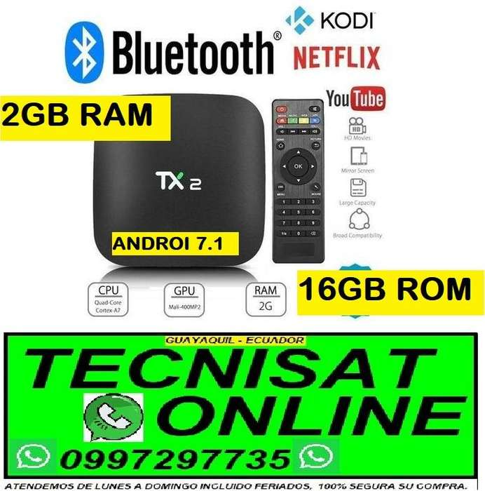 TVBOX TX2 BLUETOOTH 2GB RAM, 16GB ROM, ANDROI 7.1 COVERTIDOR TV BOX SMARTV