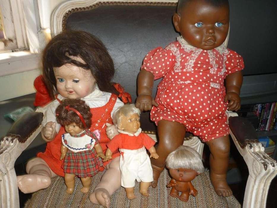 lote de 5 antiguos muñecos de goma y muñeca de pasta . bebota negrita años 1960s