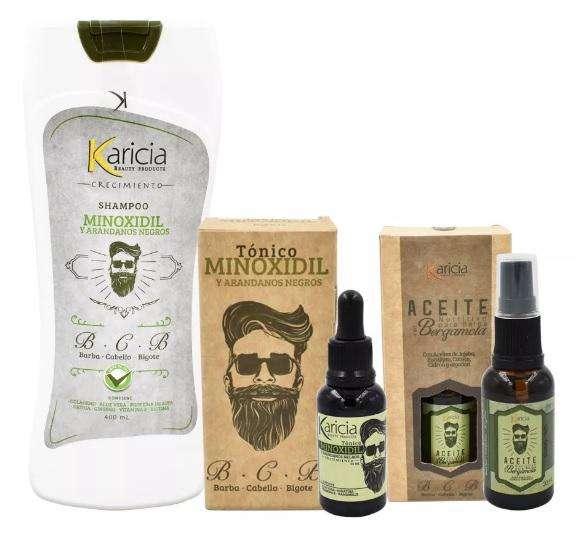 Combo para crecimiento del cabello y barba (Shampoo, Tonico y Aceite)