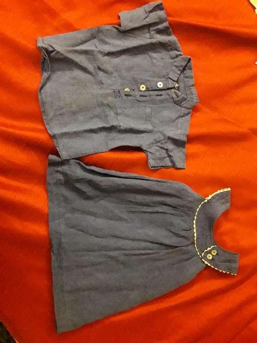 Juego de Vestido Y Camisa para Mellizos