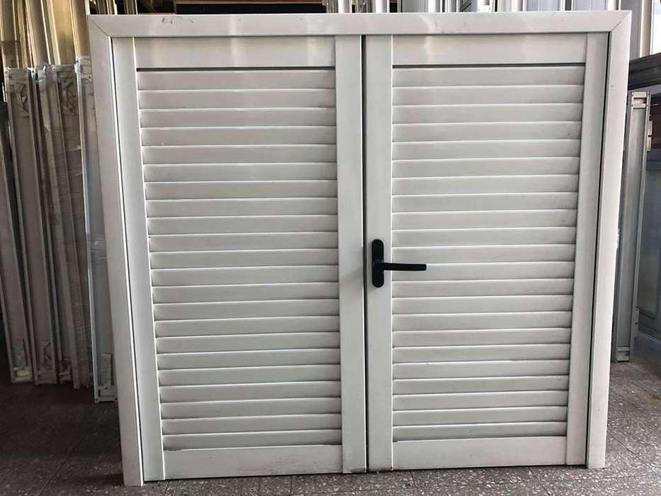 Celosía de abrir <strong>aluminio</strong> blanco 1.20 x 1.10