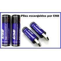 Blister con 2 Pilas AA Recargable Dual carga por USB y Por Cargador de 1450mah
