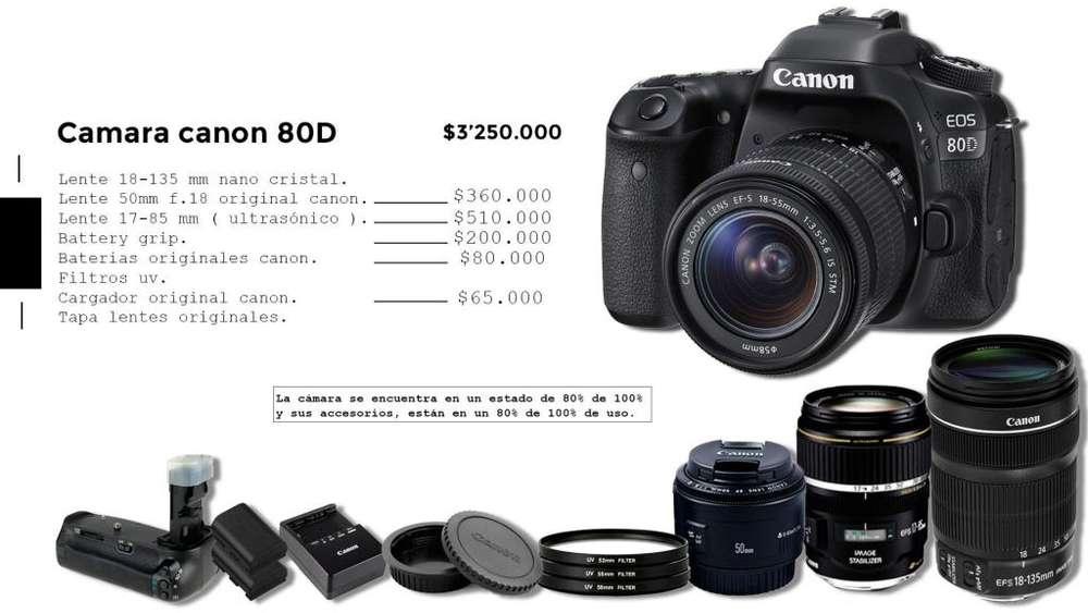 Venta cámara canon 80D