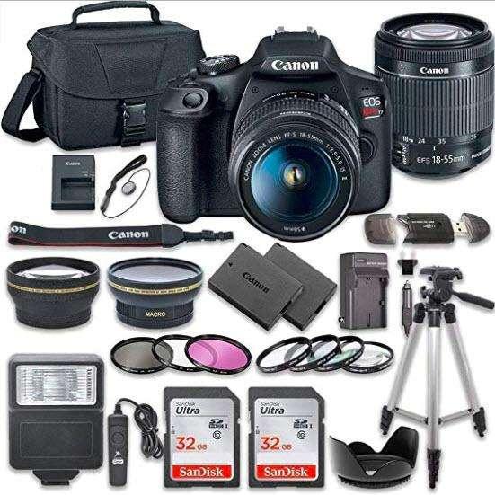 Cámara de fotos Canon EOS Rebel T7 wifi incluye estuche y 2 tarjetas de memoria SanDisk de 32 GB y kit de accesorios)