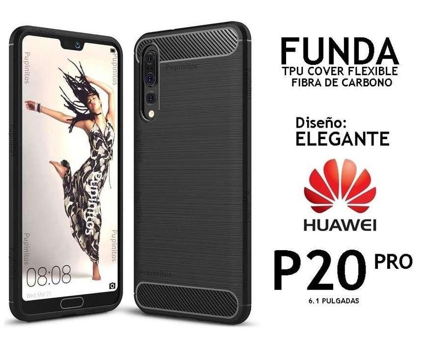 Funda Tpu Elegante Fibra De Carbono Huawei P20 Pro Rosario