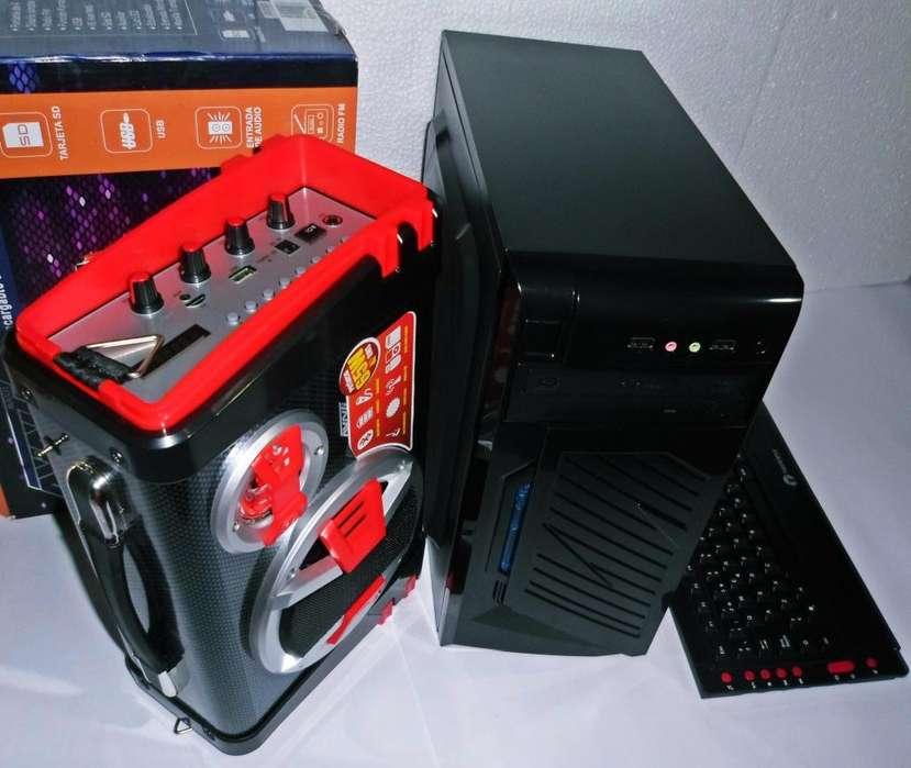 FLAMANTE CPU DE ESCRITORIO INTEL CORE DUAL CON PARLANTE AMPLIFICADO A BATERIA Y BLUETOOTH PRECIO 150 DOLARES FIJOS