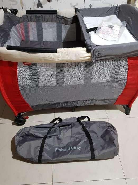 Practicuna Fisher Price, Como Nueva!! Con colchón de regalo!