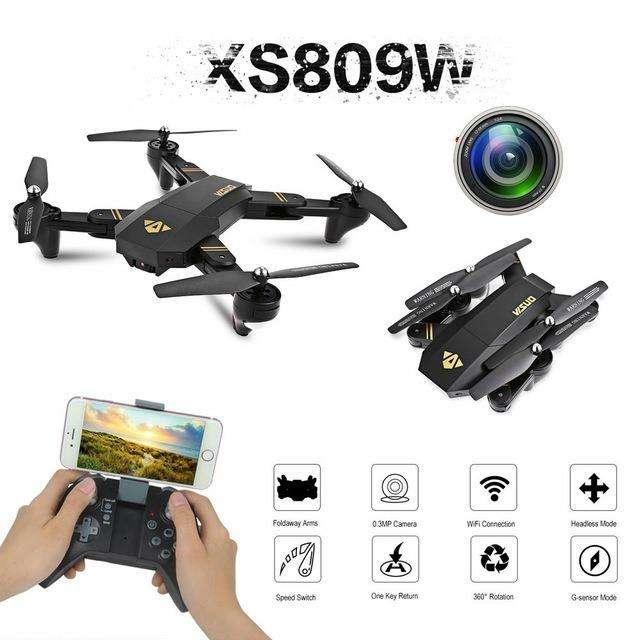 Drone Visuo XS809w Camara de fotos y video, fácil de volar y trasportar, con control remoto. trasmite vídeo al celular