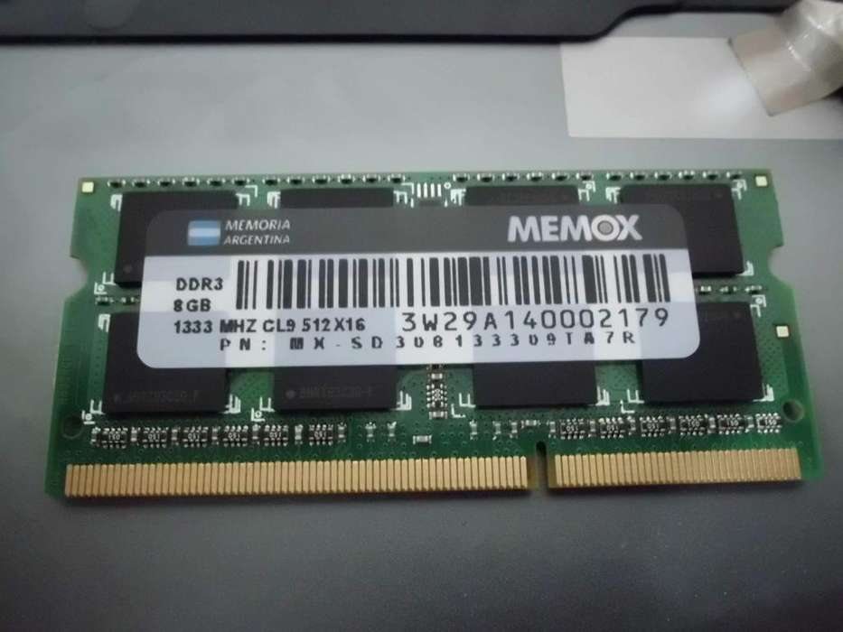 Memoria RAM 8gb (1x8gb) 1333MHZ- DDR3- Sodimm- USADO- Salta Capital - Netbook, Notebook, Mini <strong>pc</strong>.