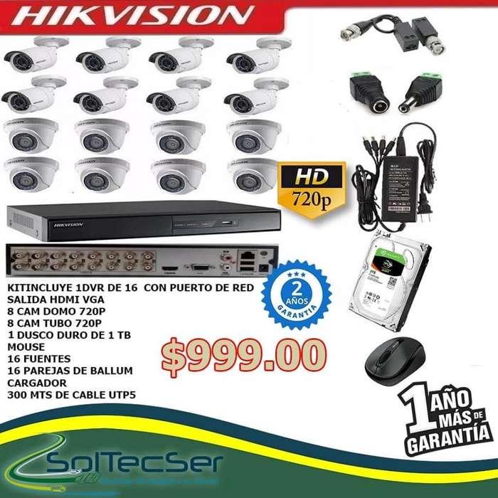 Combo Completo 16 Cámaras Hikvision