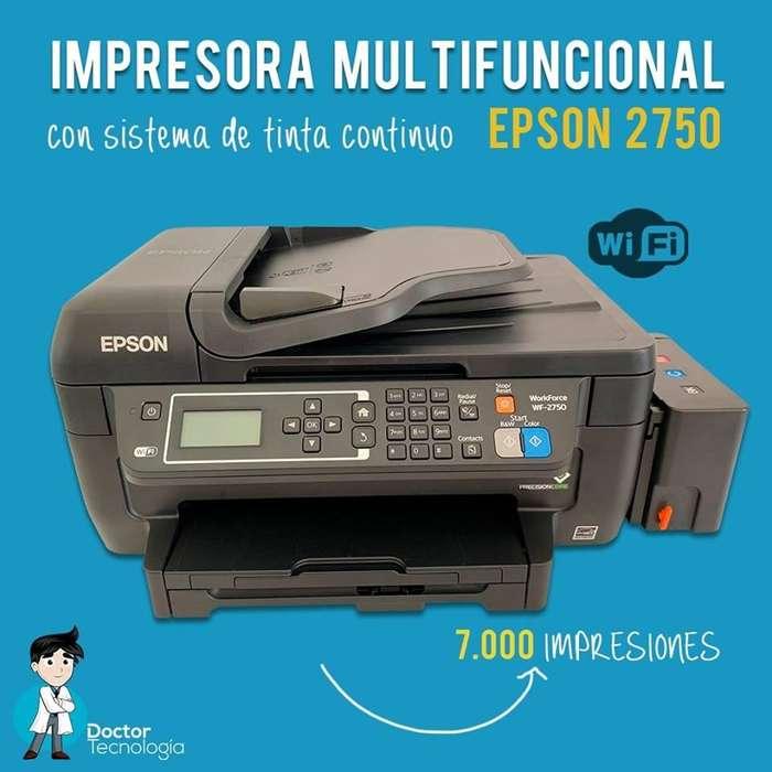 IMPRESORA EPSON MULTIFUNCIONAL WF2750, CON SISTEMA DE TINTA CONTINUO