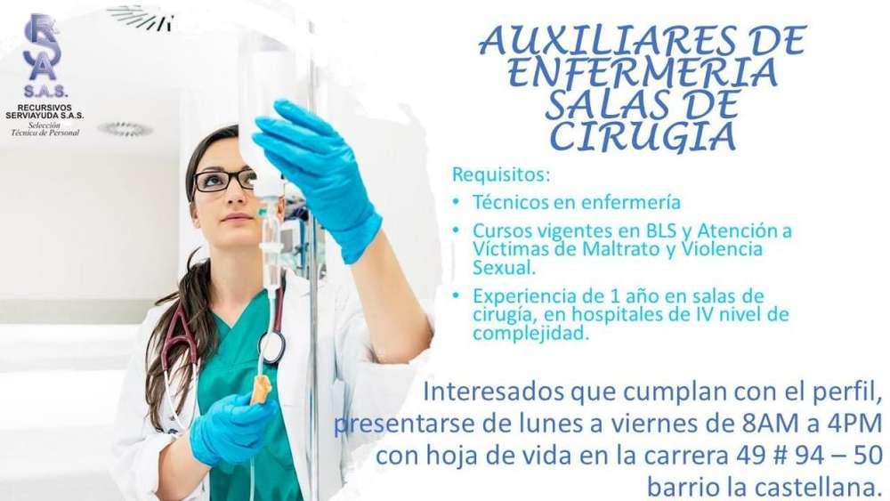 <strong>auxiliar</strong>es de enfermería experiencia en sala de cirugía