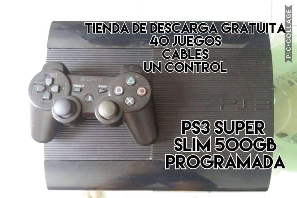 Ps3 Super Slim 500gb Programada 40 Juegos y tienda de juegos gratis Venta Cambio.