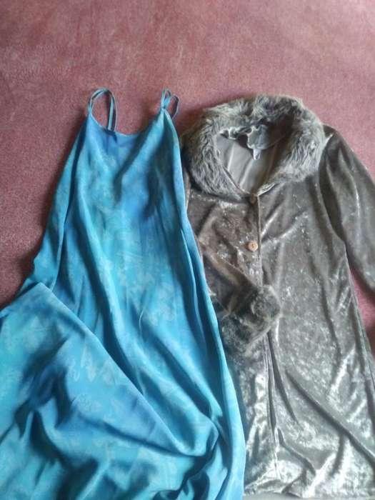 Vestido Gasa Y Tapado Piel