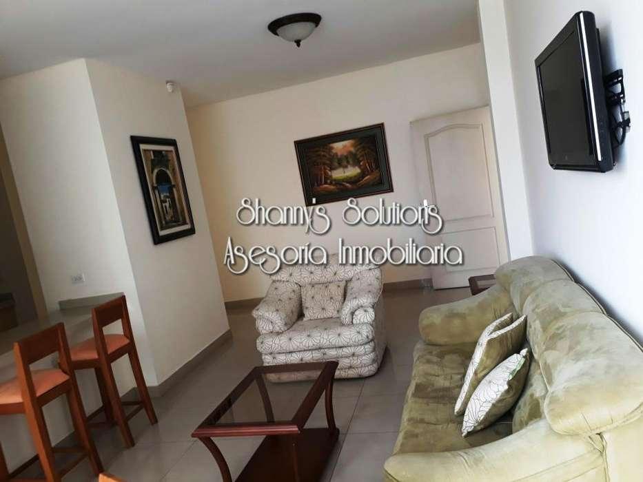 Urdesa rento dpto amob con 2 hab,balcon, garaje y servic inc como wifi y tv cable