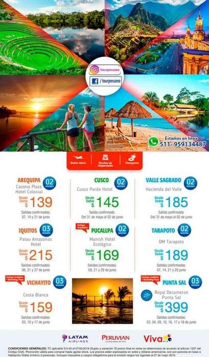 Junio espacios confirmados a destinos nacionales tours en Perú baratos