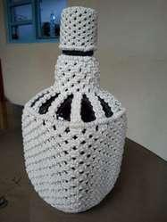 Botellas decoradas en macrame
