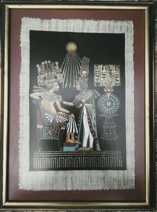 Papiro egipcio original enmarcado en madera con vidrio y marco en hojilla dorada