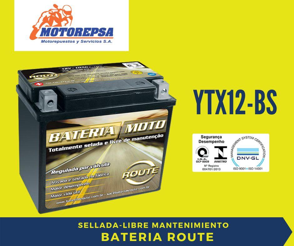 Bateria para MOTO ROUTE YTX12 BS / 12V10Ah