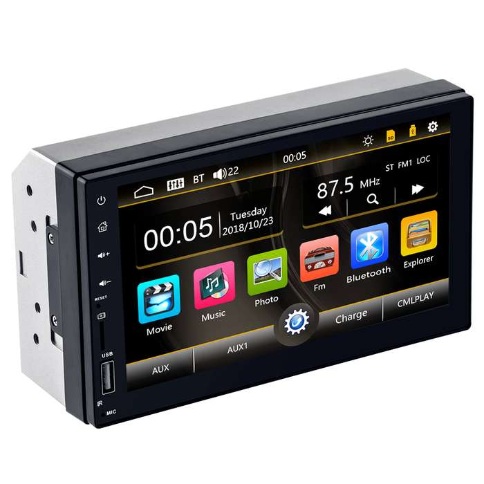 Radio para Carro Mp5 Bluetooth Usb Sd mirror linkAux Pantalla 7 pulgada doble din 4x60w