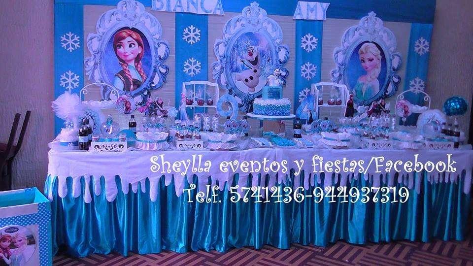 Decoración de Frozen, fiesta infantil temática, Torta, Bocaditos personalizados, Castillos, Toldos, cumpleaños
