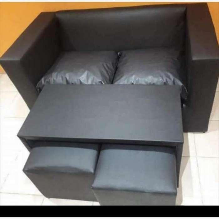 Sofa 2 Cuerpos Mesa 2 Puff en 12 Cuotas