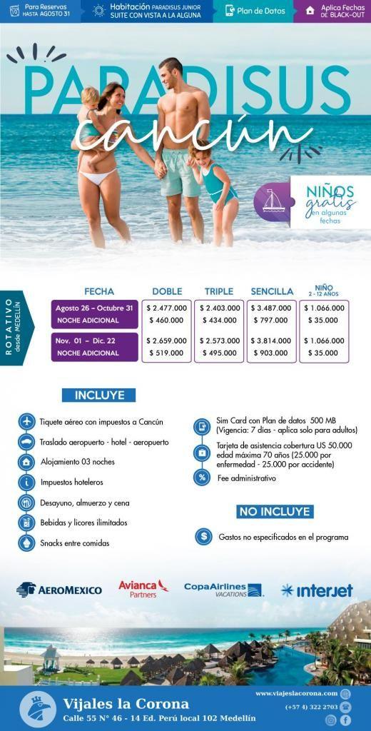 Viaje como un Rey a Cancún H. PARADISUS  con Viajes la Corona