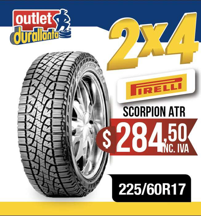 <strong>llantas</strong> 225/60R17 PIRELLI SCORPION ATR TUCSON NEW SPORTAGE GT SPORTAGE X LINE MT Koleos Expression CVT GLORY NEW COMPASS