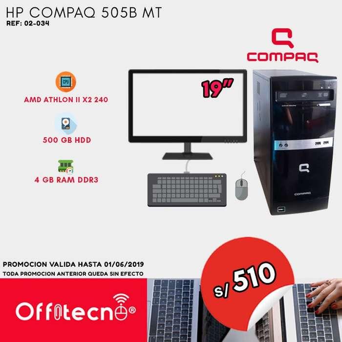 COMPUTADORA COMPLETA, HP COMPAQ 505B MT, AMD ATHLON II X2 250, 4 GB RAM DDR3, 500 GB